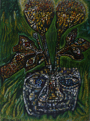 Outsider art : Jovanović Miroslav Dalton : Stone Flower (mosaic, thought, sight, mind, innocence)